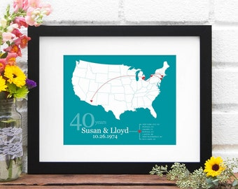 Personalized US Map, Anniversary Gift Paper, Custom Map Print, Personalized Anniversary Map, Wedding Decor, Gift for Her - 8x10 Art Print