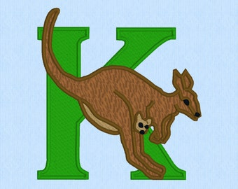 Letter K is for Kangaroo machine embroidery design file