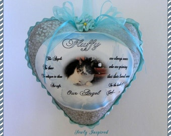 Beloved Pet Memorial Heart Pillowette Personalized with your Photo