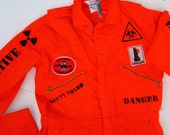 SAFETY THIRD COVERALLS Tall 42T Mens Orange jumpsuit Explosive Grenade Biohazard disaster Fire Skull Burning Man Pyro Big Tall Halloween