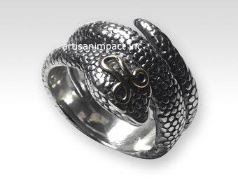 Two Tone Snake Ring, boho ring, gypsy ring, hippie ring, snake ring, coiled snake ring, gold silver ring, long snake ring - Tempter 2 R2240