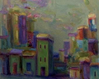 Original Landscape Painting- Cityscape- Modern Folk Art- Impressionist- Whimsical City- 8x10