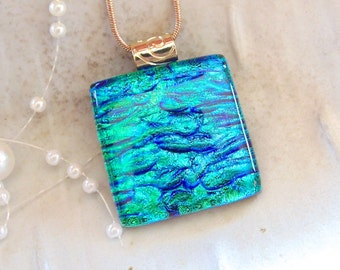 Green Necklace, Blue, Dichroic Pendant, Fused Glass Jewelry, Blue, Necklace Included, A4