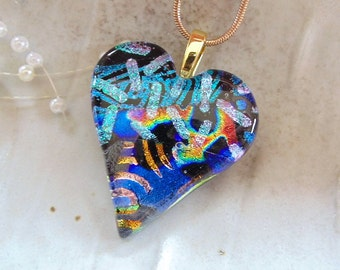 Heart Pendant, Dichroic Pendant, Dichroic Glass Jewelry, Heart, Necklace, Blue, Gold, Red, Necklace Included, One of a Kind, A8
