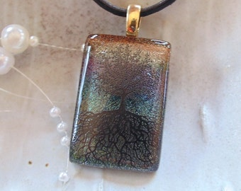 Tree of Life Dichroic Glass Pendant, Fused Glass Jewelry, Necklace Included, A9