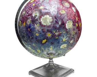 Vintage Globe Art, Everlasting Bouquet Globe, Flowers, World Globe Art