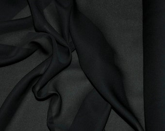 """Double Georgette Fabric Black semi sheer sold by the yard 58"""" wide for weddings, dresses or home decor"""