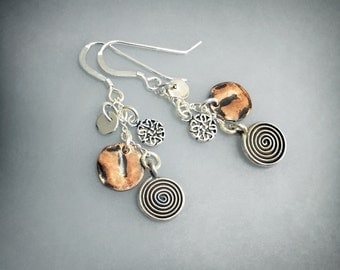 Copper and Sterling Silver dangle earrings - KKIDD Designs