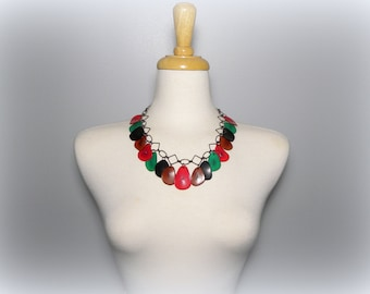 Black, Red, Brown, and Green Tagua Nut Eco Friendly Bib Statement Necklace with Free USA Shipping#taguanut #ecofriendlyjewelry
