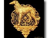 BORZOI BROOCH Pin. Jewelry Russian Wolfhound Jewelry. Dog on a Pedestal. Borzoi Dog Brooch Pin. Victorian Style Gold Pin