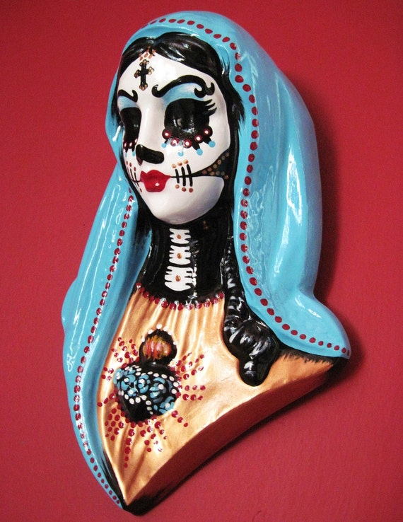 Day of the Dead VIRGIN MARY Wall Hanging Bust Sculpture - CUSTOM by Illustrated Ink - Choose Your Own Colors