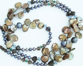 brown keishi, peacock pearl and smoky quartz necklace - made to order