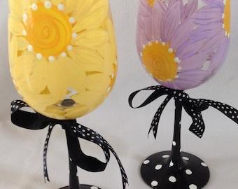 Daisy Wine Glasses- Set of 2