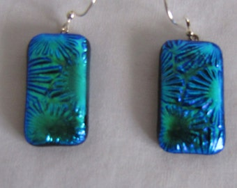 Earrings #Blue Green #Fused Sparkling Glas #Handmade #Special