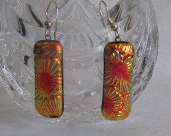 Jewelry Earrings Specialty Dicroic Kiln Fused Glass Brilliant Sparkling Colors in Orang, Gold, Black