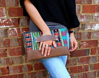 Tribal Bohemian Stripe Clutch / Kindle Case / Hand Handle