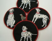 Dalmatians on Black Cloth Coaster Set of 4      Set #24
