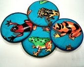 Colored Frogs Cloth Coaster Set of 4    Set #28