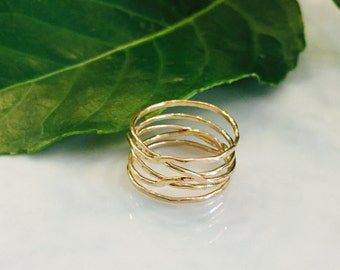 Hammered wrap ring-14kt gf