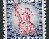 8 cent Statue of Liberty stamp issued 1956 .. Vintage Unused US Postage Stamp .. Pack of 10