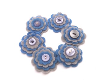 Scrabooking Embellishments, Felt Flowers, Militia Blue and Gray Flowers, Card Making Supply, Headband Supplies