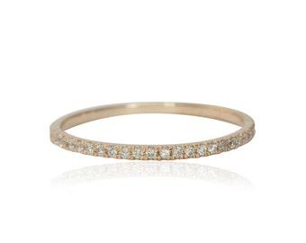 Rose Gold Wedding Band, Dainty Diamond Wedding Band, Rose Gold Dainty Diamond Wedding Ring, Rose Gold Prong Set Diamond Band - LS3970