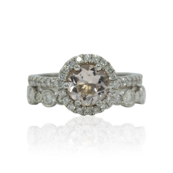 Morganite Engagement Ring Moissanite Halo Round Morganite