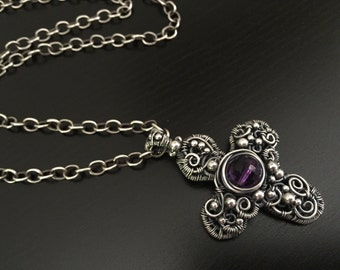 Filigree Sterling Scroll Cross with Amethyst Necklace