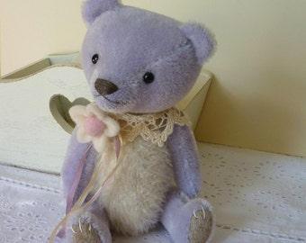 OOAK Handmade 7.5 inch artist mohair bear Lilac Whisper