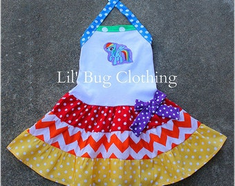 Rainbow Dash Dress, My Little Pony Birthday Girl Dress, Custom Boutique Girl Dress,