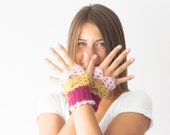 Fingerless crochet gloves in fuchsia baby pink and mustard yellow,mittens,texting gloves,crochet gloves,hand knit gloves
