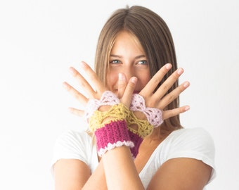 Sales Fingerless crochet gloves in fuchsia baby pink and mustard yellow mittens texting gloves crochet gloves hand knit gloves