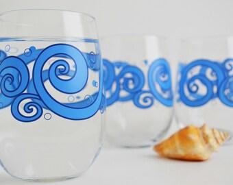 Ocean Waves Stemless Wine Glasses - Set of 4 Beach Themed Wine Glasses, Beach Wedding, Ocean Wedding, Tropical Wedding, Blue Wave Glasses