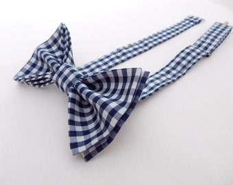Standard Bow Tie Bowtie - Pretied - Adult - Boys - Baby - Toddler - Formal Casual Wedding - Navy Blue Gingham Checks Plaid Cotton Geek Bows