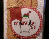 Greeting Card Happy Holidays Whimsical Penguin and Candy Cane