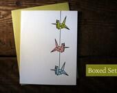 Letterpress Printed String of Cranes Cards (Chartreuse-Orange_Light Blue)