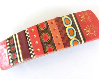 Brown Copper Polymer Clay Hair Barrette Fimo Striped Stamped