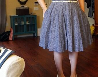 PRICE REDUCED - Blue Cotton Retro Sun Dress - XL