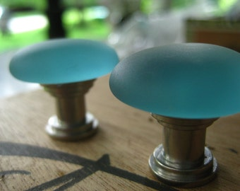 SALE 6.99 each, normally 10.99 Aqua seaglass inspired vintage glass cabinet pull knob, Tumbled glass