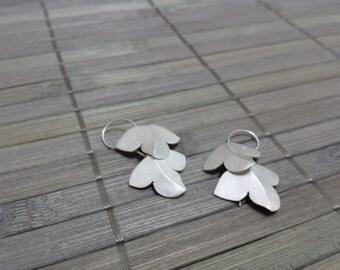 Sterling Silver Hanmade, Montpellier Maple Leaf Earrings II