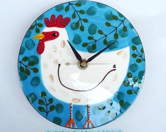 Ceramic Handmade Chicken Clock by Sharon Bloom Designs