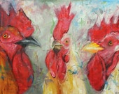 Rooster 754 18x24 inch animal portrait original oil painting by Roz