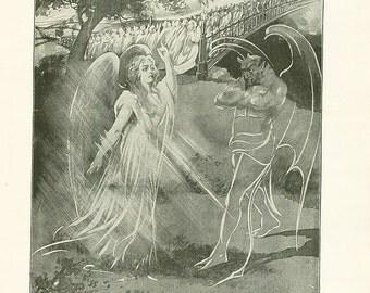 Vintage Print Angel & The Devil Satan Antique Christian Book Illustration 1911