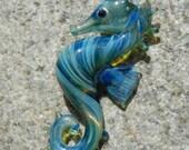 Lampwork Boro Glass Pendant - Focal Bead - SEAHORSE light blue