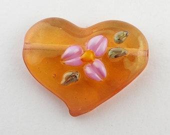 Lampwork Glass Focal Bead - Heart Bead