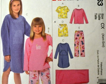 Sewing Pattern McCall's 4963 Girls' Pajamas, Gowns, and Blanket  Size 3-6 UNCUT COMPLETE