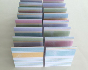 Mini Cards 16 Pastel Stripe -blank for thank you notes 3 x 3
