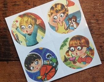 Vintage Inspired Sticker Sheet - Big Eyed Children