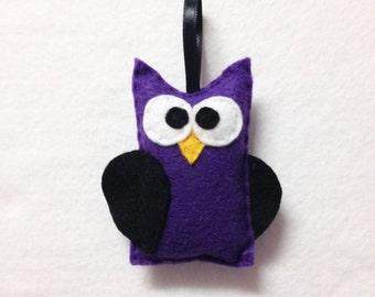 Felt Halloween Ornament - Cruella the Purple Owl - Made to Order