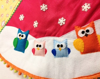 Tree Skirt, Christmas Tree Skirt, Sunny Snow - One of a Kind, Owls, Bright Festive, Birds, Gifts Under 100, Unique